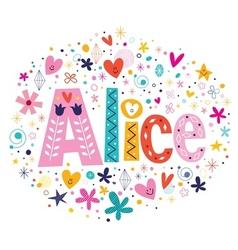 Alice female name decorative lettering type design vector