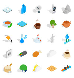 Autumn icons set isometric style vector
