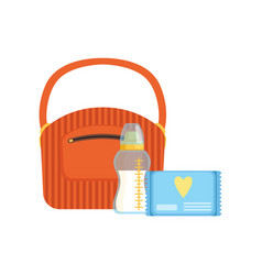 Bag baby bottle of milk and pack of wet wipes vector