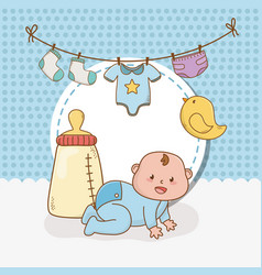 Bashower card with little boy baby vector