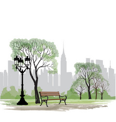 Bench and streetlight in park city background vector