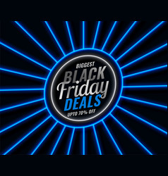 black friday blue neon style sale banner vector image