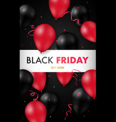 black friday sale poster with glossy vector image