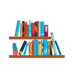 Bookshelf with colorful books flat reading books vector