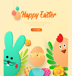 bright greeting card with happy easter vector image