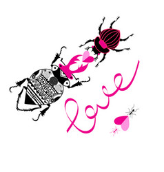 bright loving beetles on a white background vector image