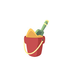 bucket full of sand and shovel in it - summer vector image