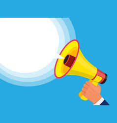 businessman holding megaphone in hand advertising vector image