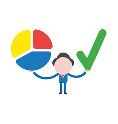 Businessman holding three parts diagram pie chart vector
