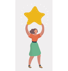businesswoman holding big star vector image