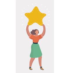 businesswoman holding big star vector image
