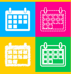 calendar sign four styles of icon on vector image