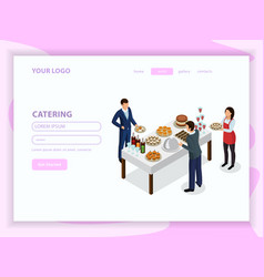 Catering isometric web page vector