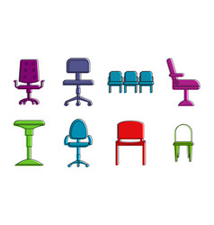 chairs icon set color outline style vector image