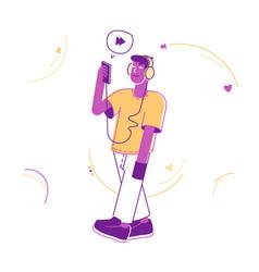 cheerful teenager wearing headset listening music vector image