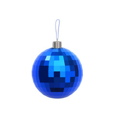 christmas blue faceted ball isolated on white vector image
