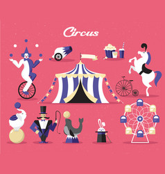 Circus elements set on a vector