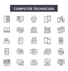 Computer technician line icons signs set vector
