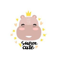 cute hippo face vector image