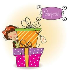 Cute little girl hidden behind boxes gifts vector