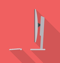 Desktop computer side view vector