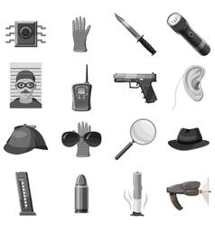 Detective icons set gray monochrome style vector