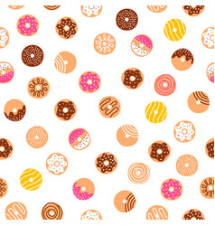 Doodle donuts fun pattern vector