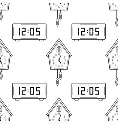 electronic watch and cuckoo clock black and white vector image