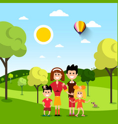 family in park people on field flat design vector image