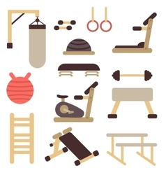 Flat fitness sport gym exercise equipment vector