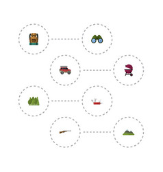 Flat icons zoom wood barbecue and other vector