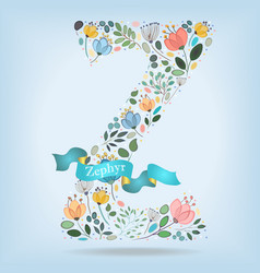 Floral letter z with blue ribbon vector