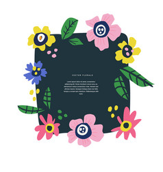 Floral text circle frame hand drawn flat layout vector
