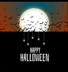 Flying bats and spiders halloween background vector