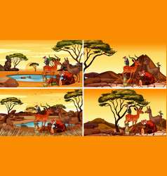 four scenes with many animals in field vector image