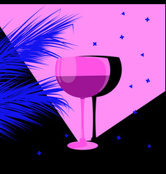 Glass wine and palm trees vector