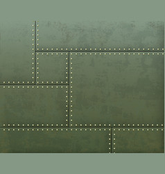Green metal textured plates with steel rivets vector