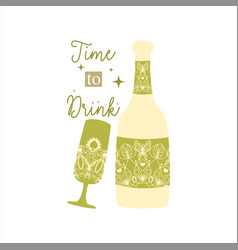 Green olive concept style bottle and glass vector