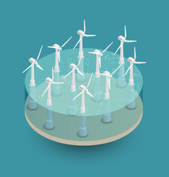 Green wind energy isometric composition vector
