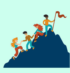 group of climbers helping each other vector image