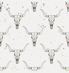 grunge seamless pattern with bull skull vector image