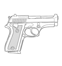 hand drawn pistol isolated on white vector image