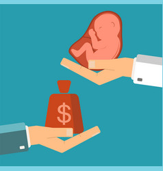 hand of businessman with money and a embryo in vector image