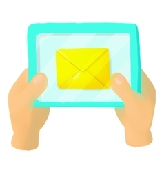 Hands holding a tablet with letter icon vector