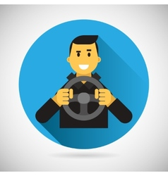 Happy Smiling Driver Character with Car Wheel Icon vector