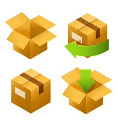 isometric cardboard boxes set icons delivery and vector image
