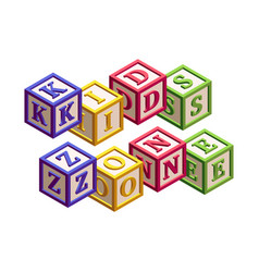Isometric kids blocks with letters and a phrase vector