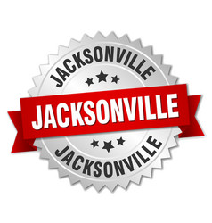 Jacksonville round silver badge with red ribbon vector