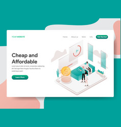 Landing page template cheap and affordable vector