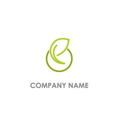 leaf green organic logo vector image